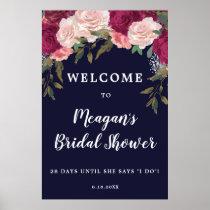 navy floral bridal shower welcome sign