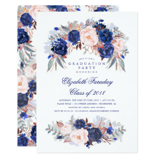 Navy Floral Elegant and Modern Graduation Party Card