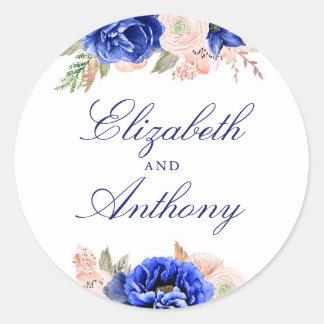 Navy Floral Elegant Wedding Classic Round Sticker
