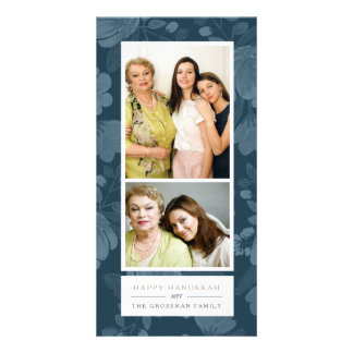 Navy Floral Hanukkah Card