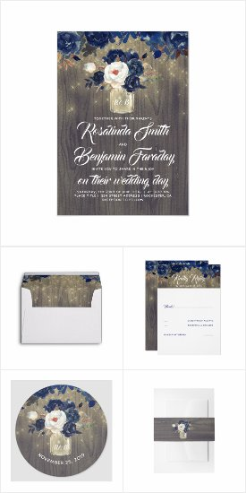 Navy Floral Mason Jar Wedding Invitation Set