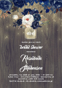 navy floral mason jar rustic bridal shower invitation