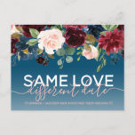 Navy Floral Other Date Wedding Typography Photo Announcement Postcard