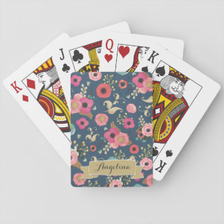 Navy Floral Pattern Personalized Playing Cards