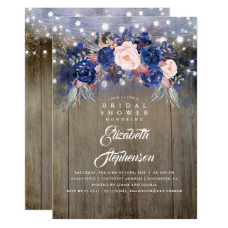 Navy Floral Rustic Bridal Shower Card