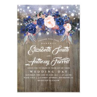 Navy Floral Rustic String Lights Wedding Invitation