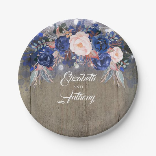 Navy Floral Rustic Wedding Paper Plate | Zazzle.com