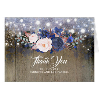 Navy Floral Rustic Wedding Thank You