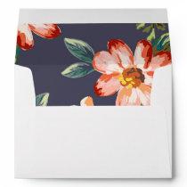 navy floral vintage wedding envelope