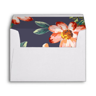 navy floral vintage wedding envelope