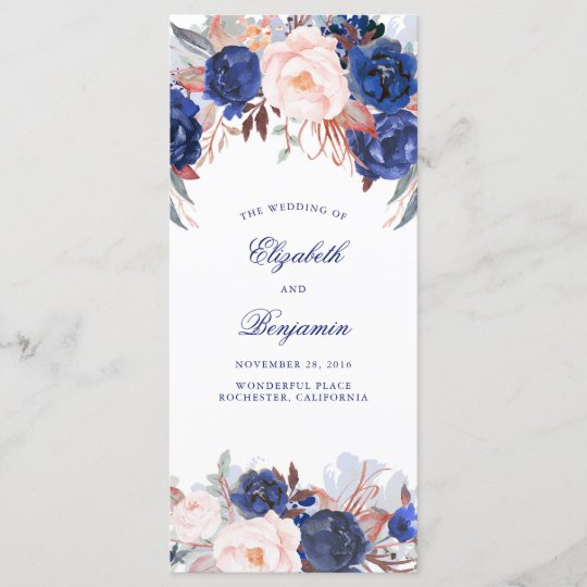 navy floral watercolor wedding programs zazzle com