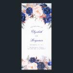 """Navy Floral Watercolor Wedding Programs<br><div class=""""desc"""">Navy flowers wedding programs</div>"""