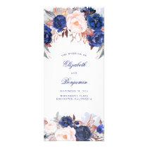 Navy Floral Watercolor Wedding Programs