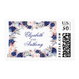 Navy Floral Wedding Postage