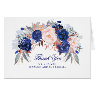 Navy Floral Wedding Thank You