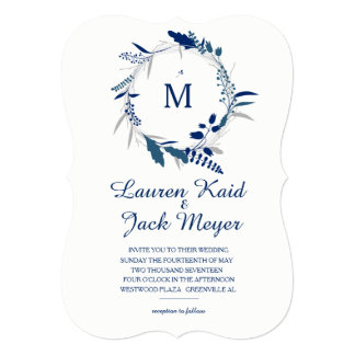 Navy Floral Wreath Rustic Wedding Invitation