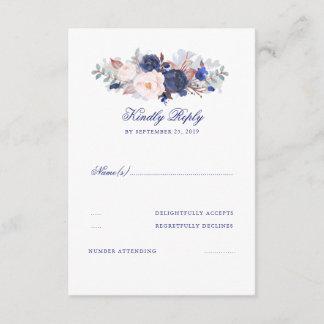 Navy Florals Wedding RSVP