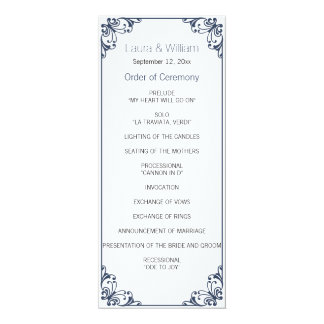 Navy Flourish Wedding Program