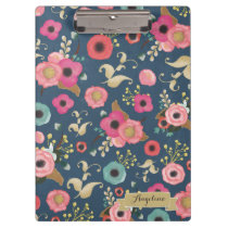 Navy Flower Pattern Modern Personalized Clip board