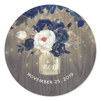 Navy Flowers Mason Jar Rustic Wedding Classic Round Sticker