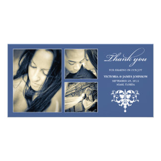 NAVY FORMAL COLLAGE WEDDING THANK YOU CARD PHOTO CARD