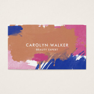 Navy & Fuchsia - Abstract Watercolor Business Card