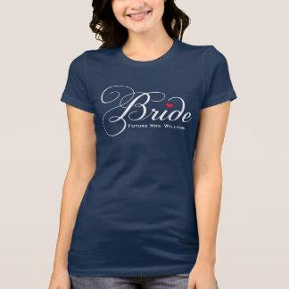 Navy Future Mrs. Bride | White Script T-Shirt