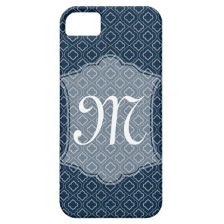 Navy Geometric Moroccan Design with Monogram iPhone 5 Covers