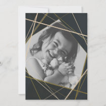 Navy Geometric Sparkle Photo Holiday Card
