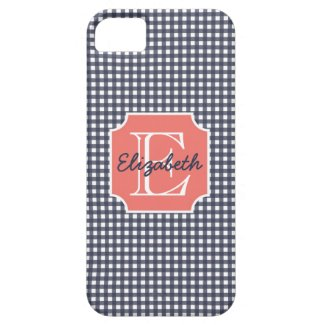 Navy Gingham iPhone 5 Cover