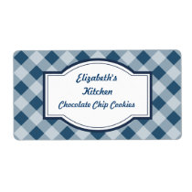Navy Gingham Kitchen Labels