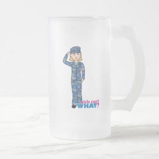 Navy Girl Frosted Glass Beer Mug
