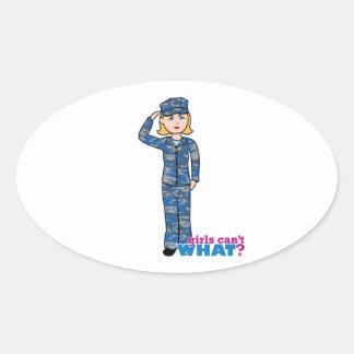 Navy Girl Oval Sticker
