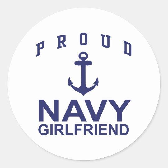 Navy Girlfriend Classic Round Sticker