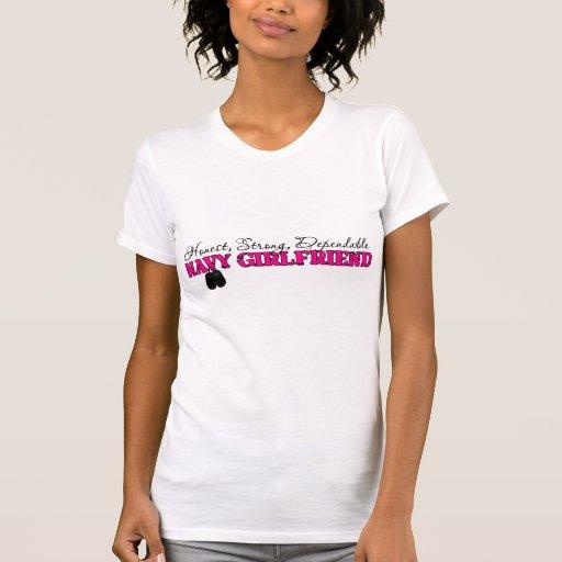 Navy Girlfriend Dog Tag Design T-shirt