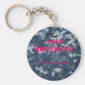 Navy Girlfriend, I  love my sailor Basic Round Button Keychain