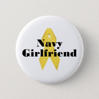 Navy Girlfriend Ribbon Pinback Button