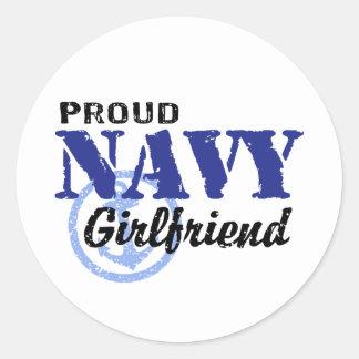 Navy Girlfriend Round Stickers