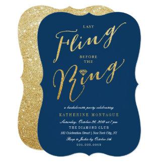 Navy Glitter Last Fling Bachelorette Party Invite