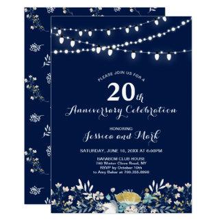 Navy & Gold 20th Wedding Anniversary Invitation