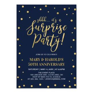 Navy & Gold   50th Surprise Wedding Anniversary Invitation
