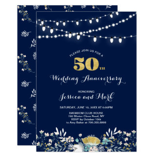 Navy & Gold 50th Wedding Anniversary Invitation