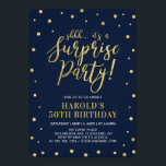 """Navy & Gold   Adult 50th Surprise Birthday Party Invitation<br><div class=""""desc"""">Celebrate your special day with this stylish modern surprise birthday party invitation template. This design features chic gold textured confetti and calligraphy with a navy background. You can customize it to any age or event.</div>"""
