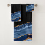 Navy & Gold Agate Bath Towel Set