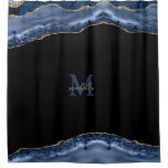 Navy & Gold Agate Personalized Monogram Shower Curtain