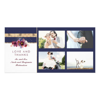 Navy Gold and Burgundy Floral Wedding Thank You Card