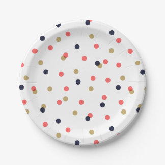 Navy Gold and Coral Confetti Dots Paper Plate