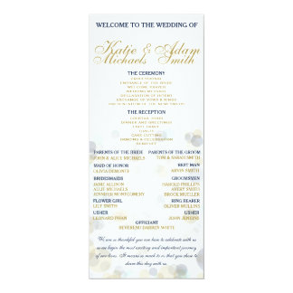 "Navy, Gold, and Mint Wedding Program 4"" x 9.25"""