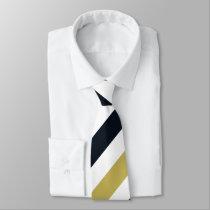 Navy Gold and White Regimental Stripe Tie
