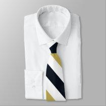 Navy Gold and White University Stripe Tie